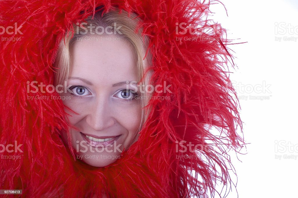 Red feathers stock photo