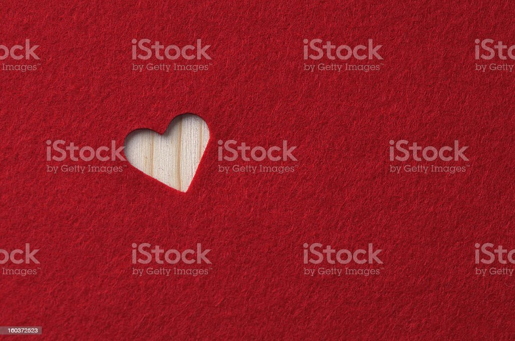 Red felt with heart royalty-free stock photo