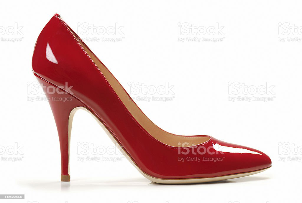 Red Female Leather shoes stock photo
