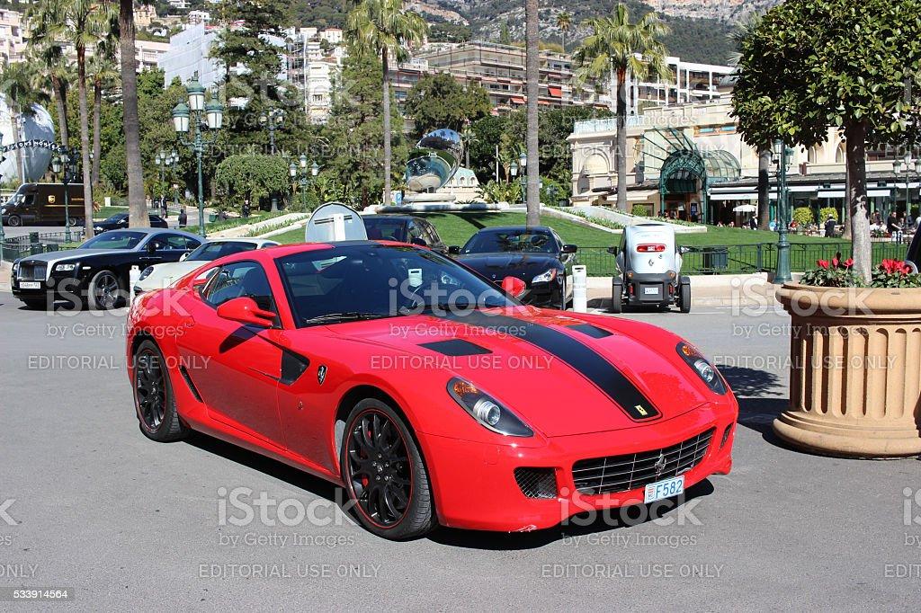 Red Ferrari 430 Scuderia in Monaco stock photo