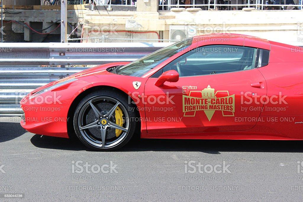 Red Ferrari 458 Italia in Monaco stock photo