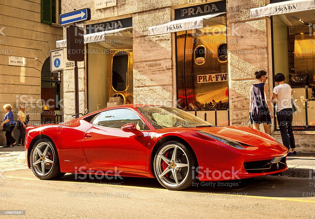 Red Ferrari in Milan, Italy stock photo