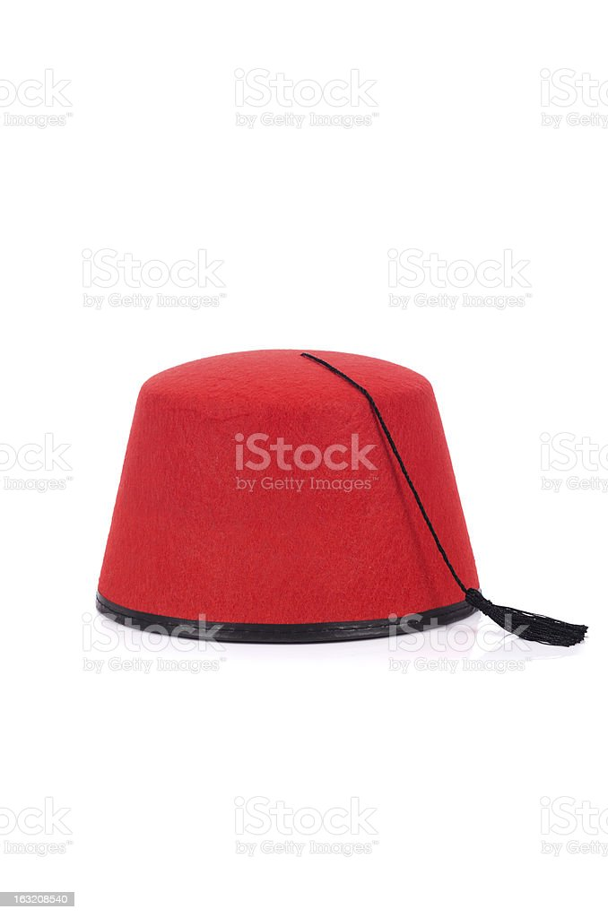 Red fez hat isolated on the white stock photo