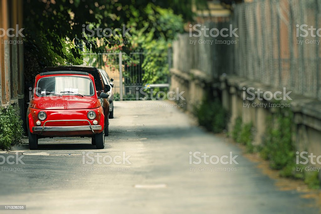 Red Fiat Cinquecento on the Streets, Italian Culture stock photo