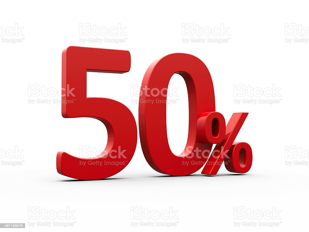 Red fifty percent stock photo