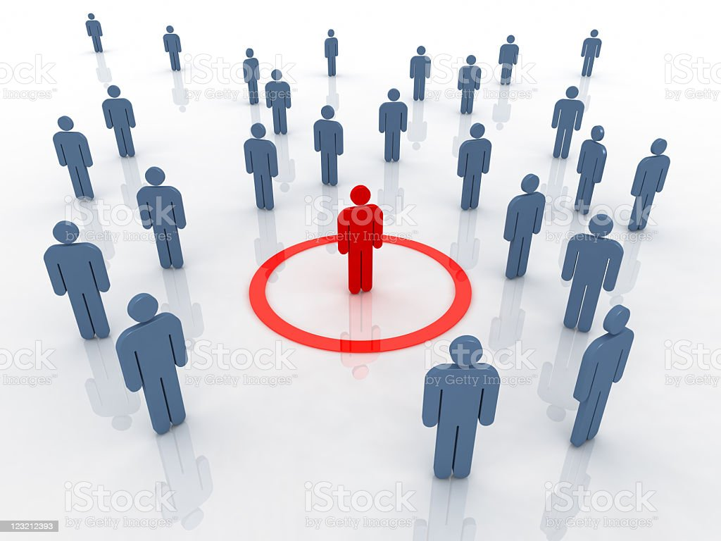 Red figure among blue ones demonstrating the chosen one royalty-free stock photo