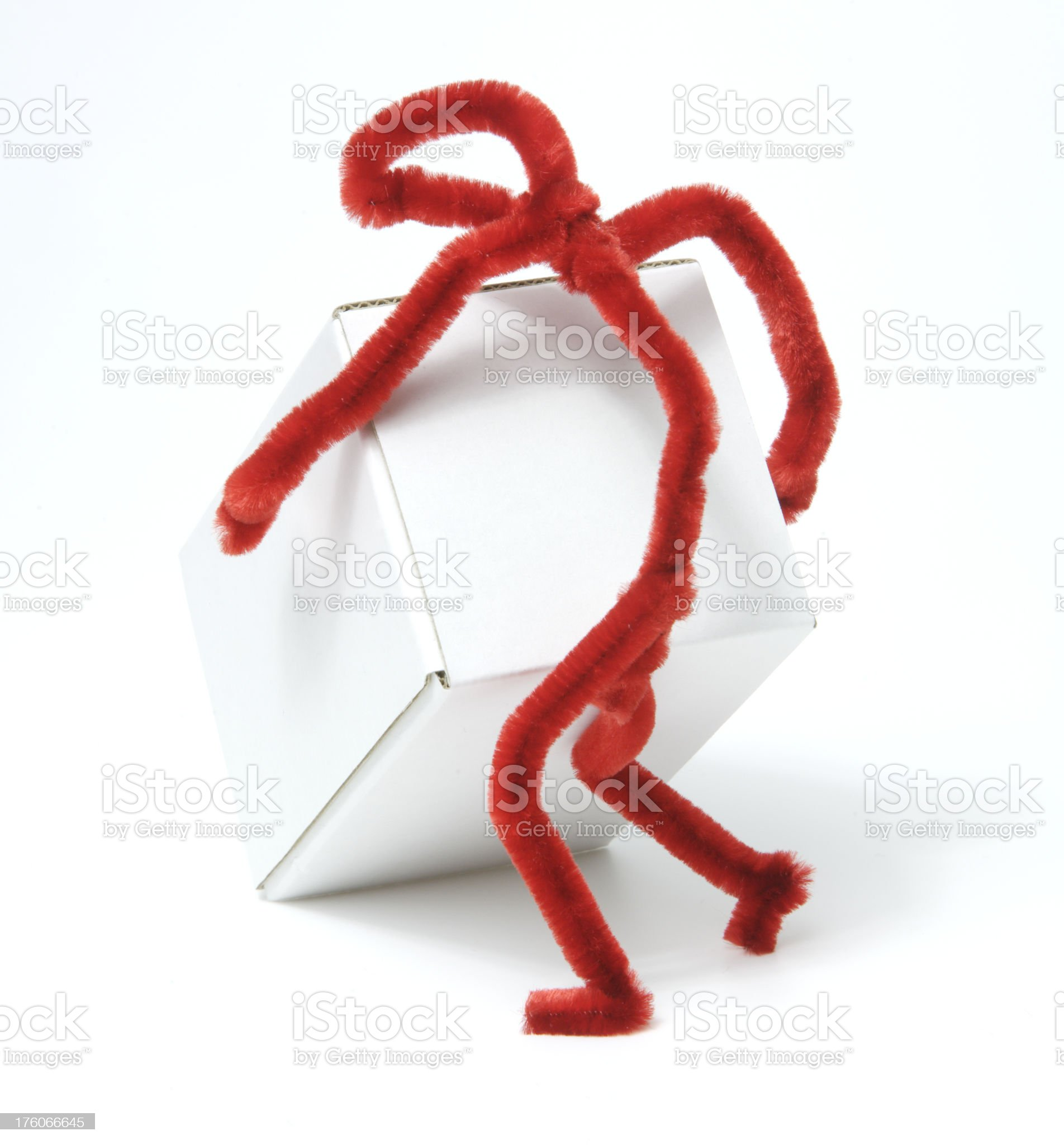 Red figure moving white box royalty-free stock photo