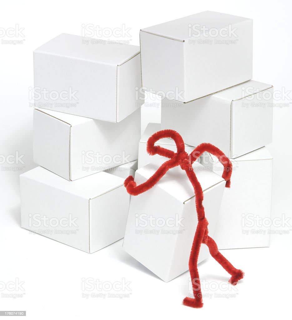 Red figure stacking boxes royalty-free stock photo