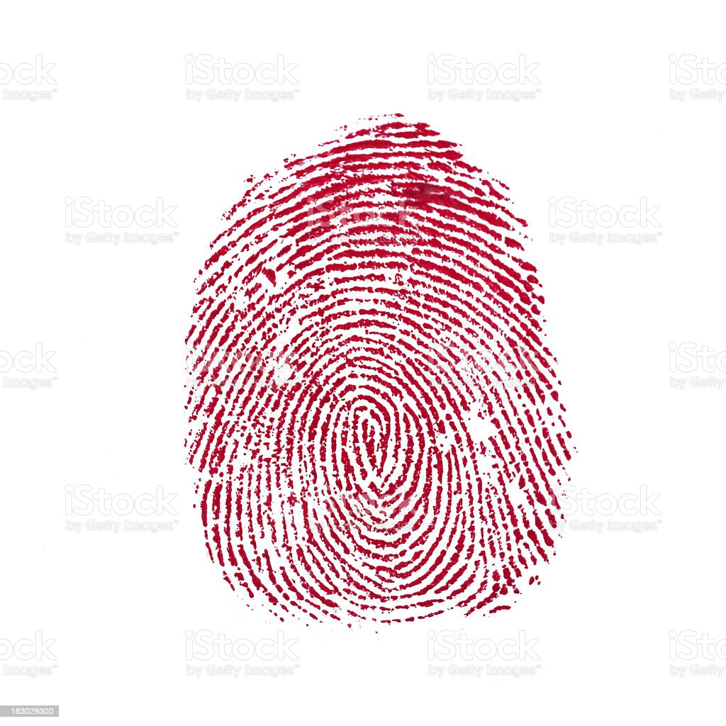 Red finger print isolated on white stock photo