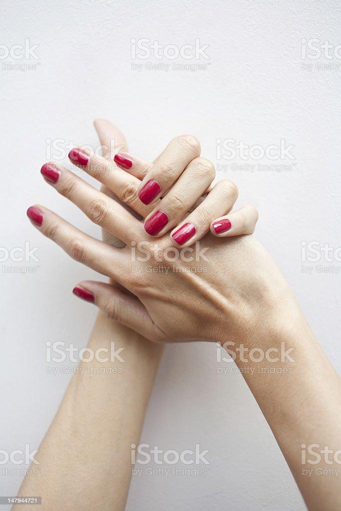 Red fingernails stock photo