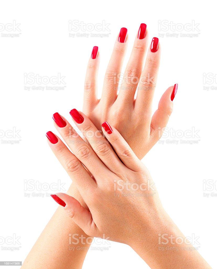 Red fingernails. stock photo