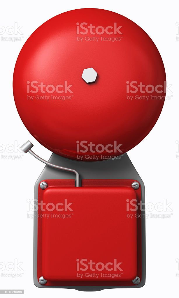Red fire alarm clip art on a white background stock photo