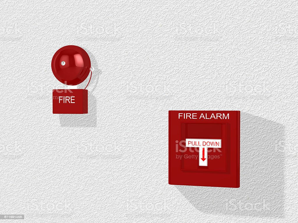 Red fire alarm switch and alarm bell stock photo