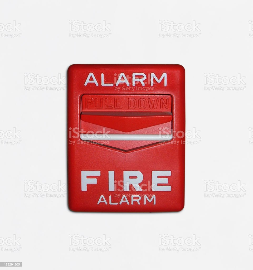 Red fire alarm trigger over a white background stock photo