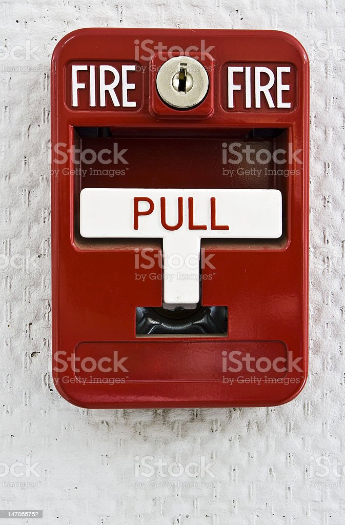 Red fire alarm trigger royalty-free stock photo