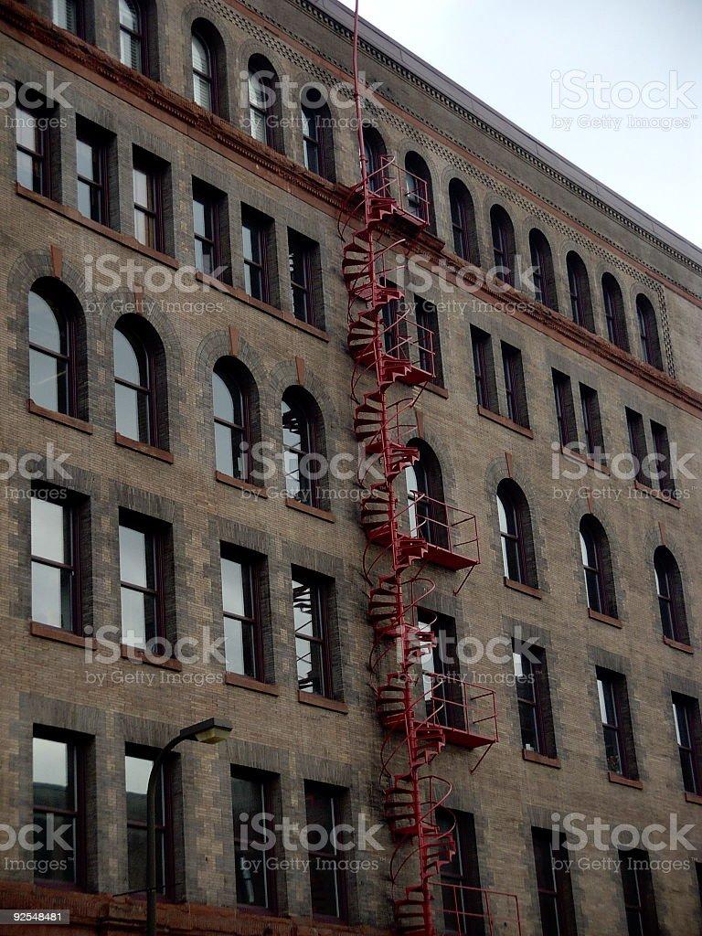 red fire escape stock photo