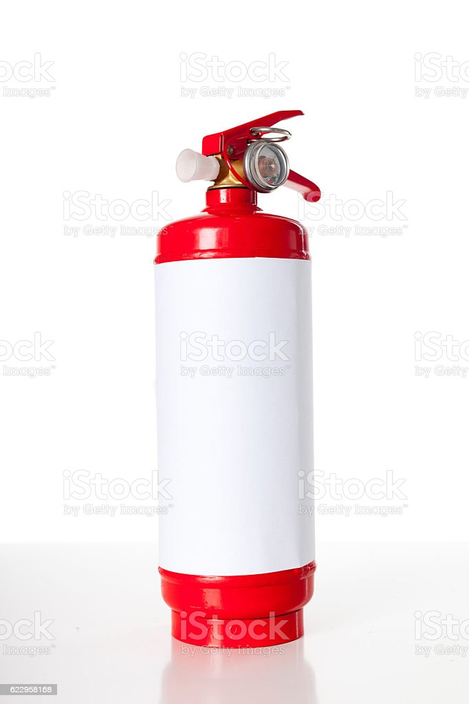 Red fire extinguisher isolated on white stock photo