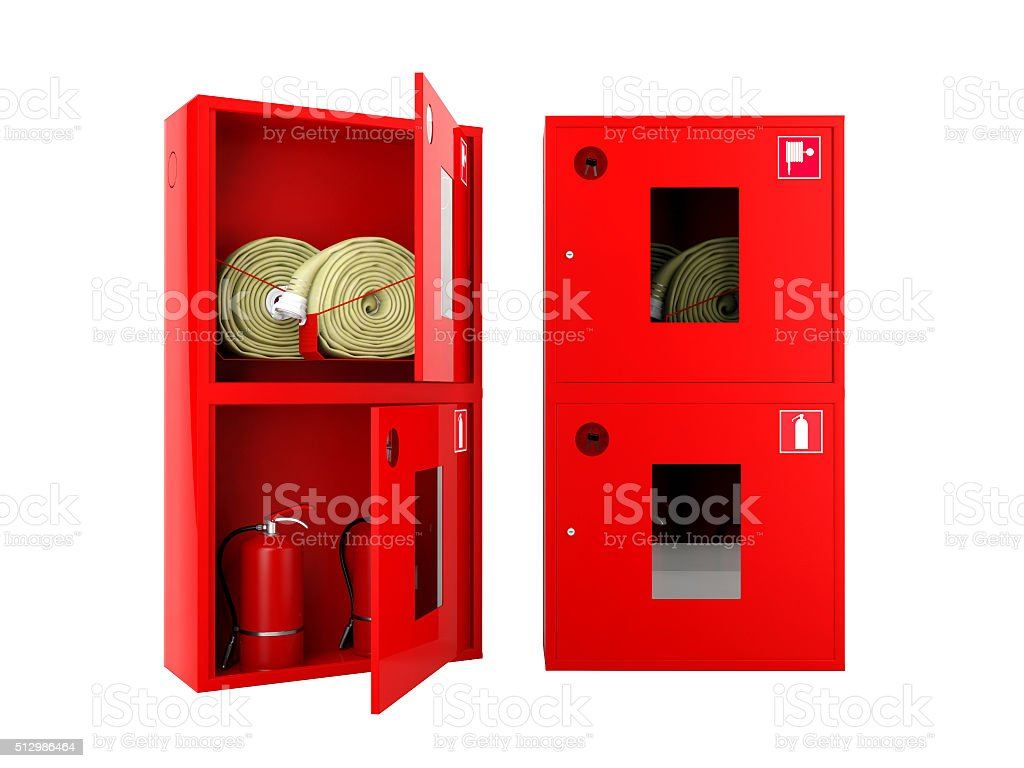 Red fire hose  and fire extinguisher cabinets on white background stock photo