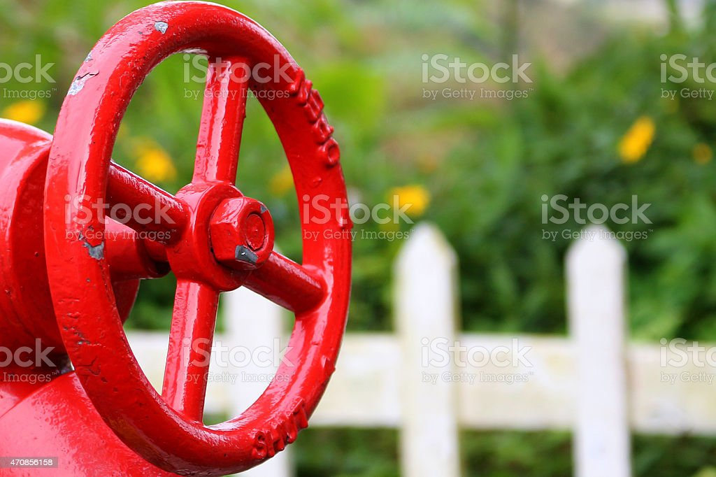 Red Fire-hydrant handwheel stock photo