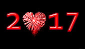 2017, red fireworks in the shape of a heart