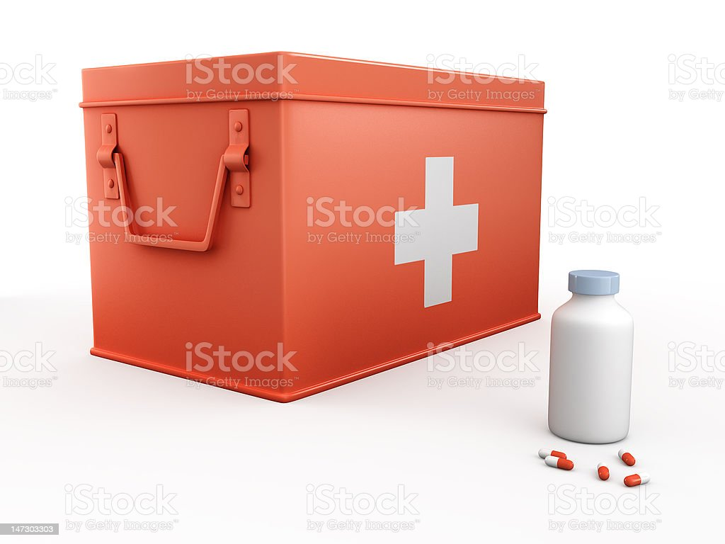 red first aid kit and bottle of pills royalty-free stock photo