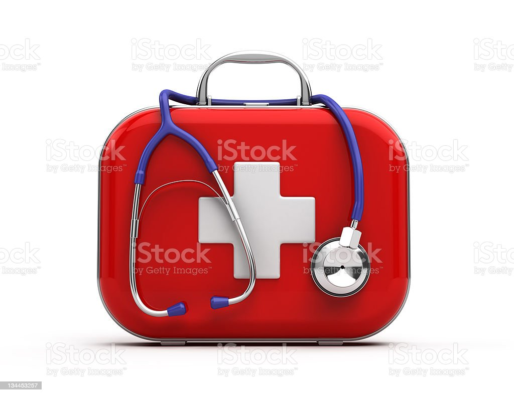 Red first aid kit with stethoscope on white stock photo