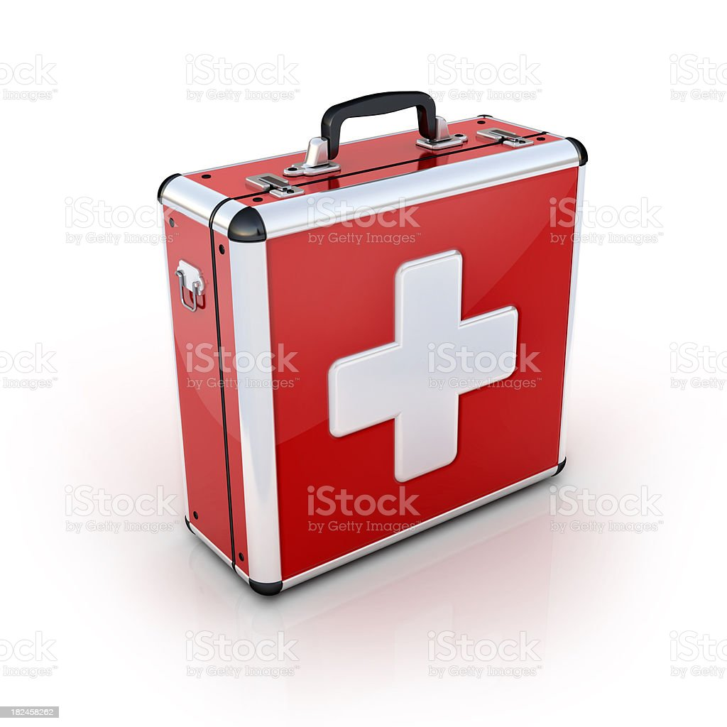 red first aid suitcase stock photo