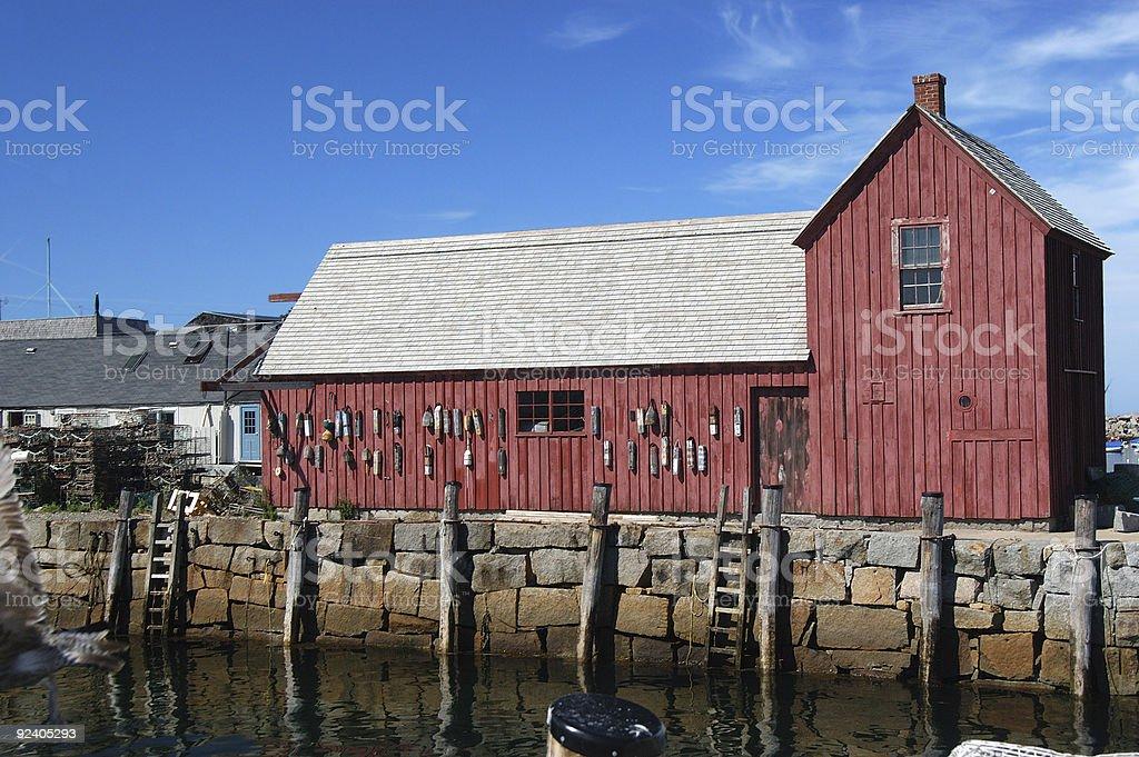 Red fisherman barn stock photo