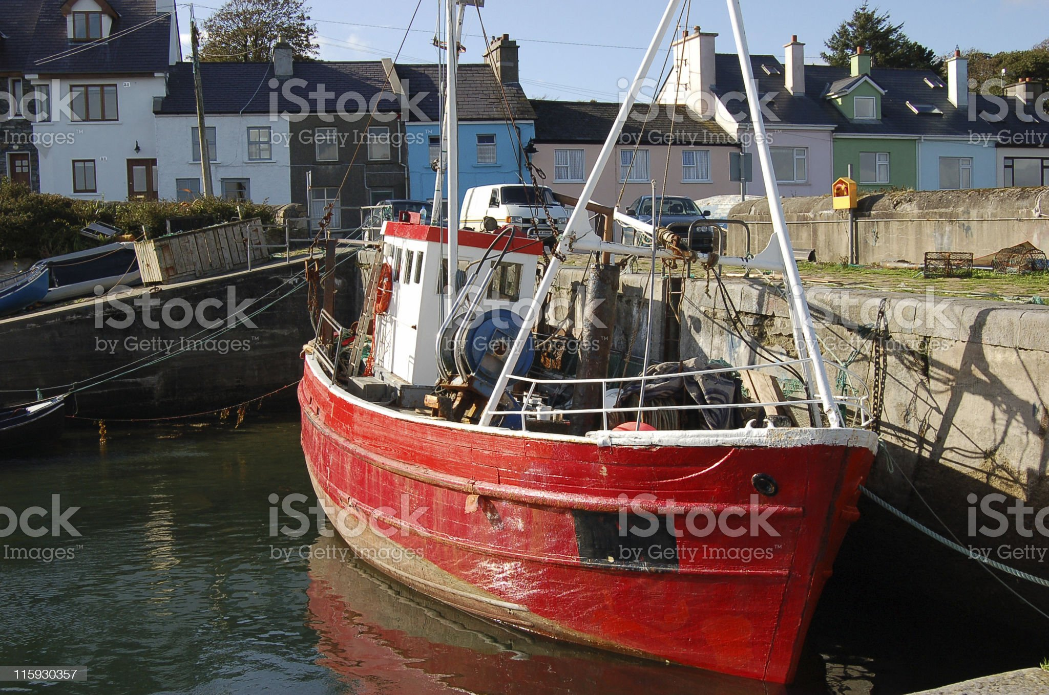 Red fishing boat royalty-free stock photo