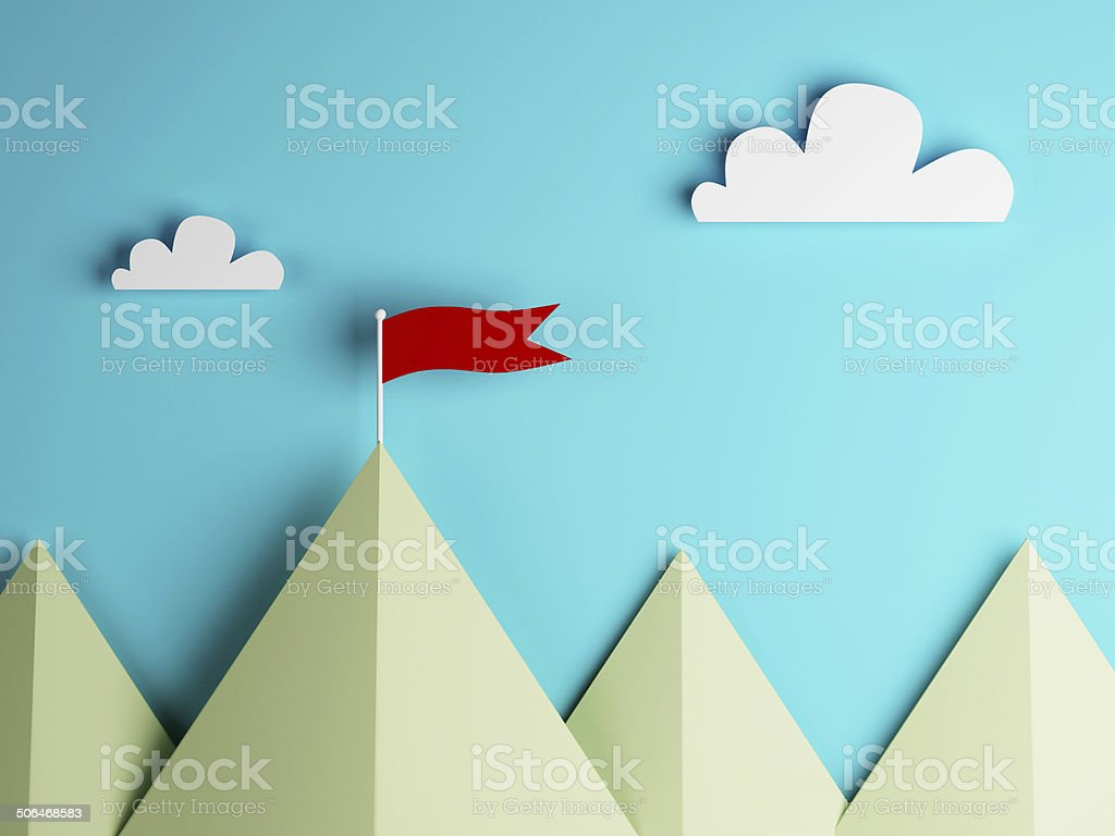 red flag on mountain and clouds sky stock photo