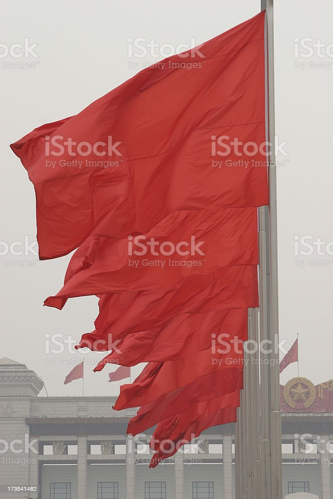 Red Flaggs stock photo