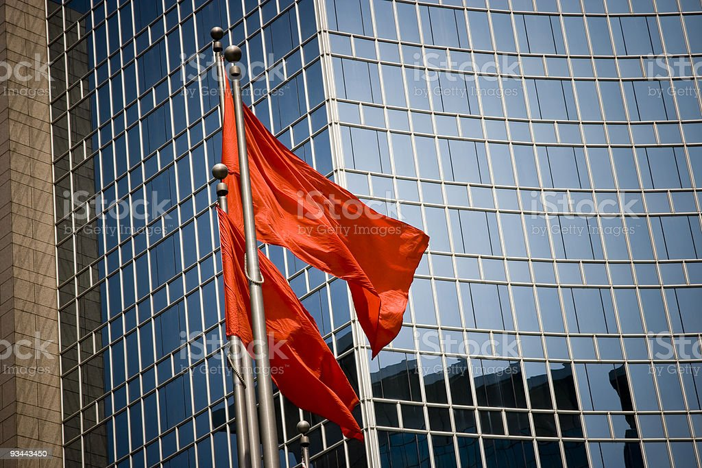 Red flags in Beijing royalty-free stock photo
