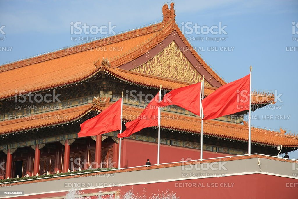 red flags on the southern gate of the Forbidden City stock photo