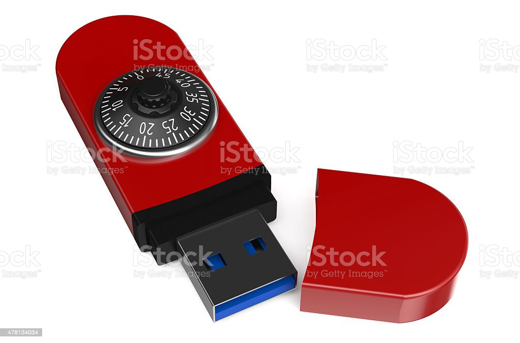 red flash drive with a combination lock stock photo