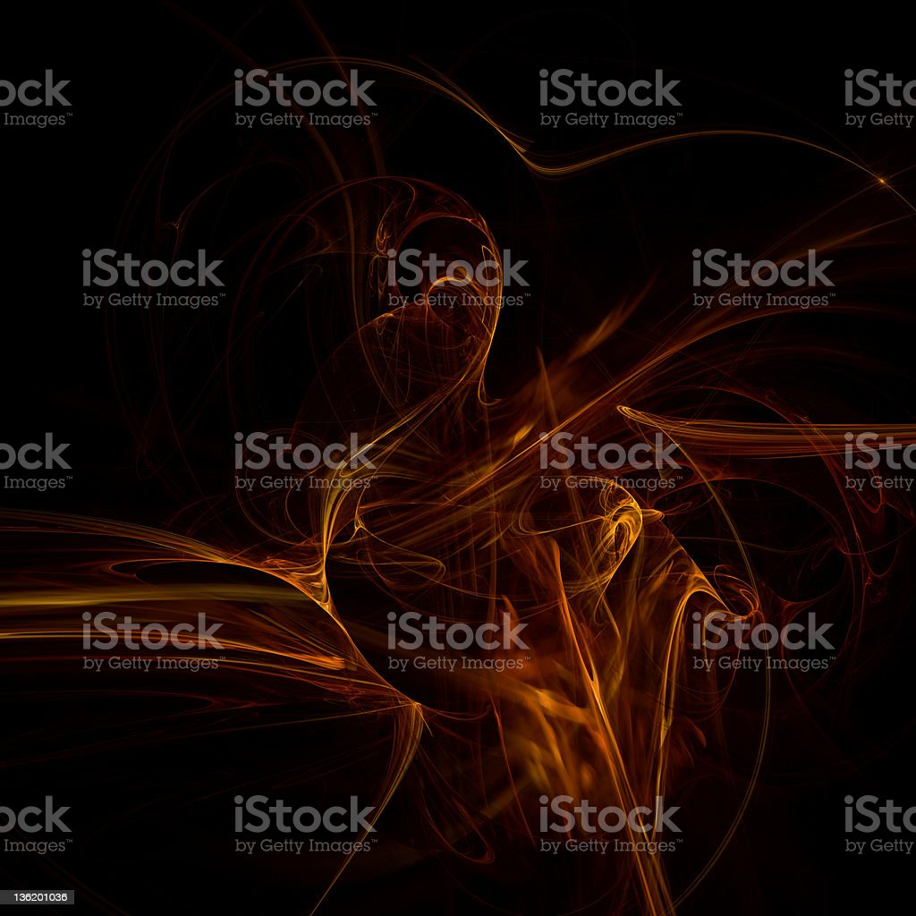 Red floating smoke abstract black background royalty-free stock photo