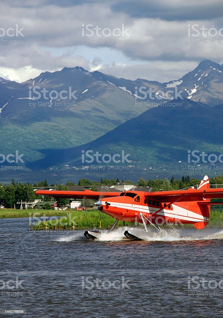 Red Floatplane stock photo