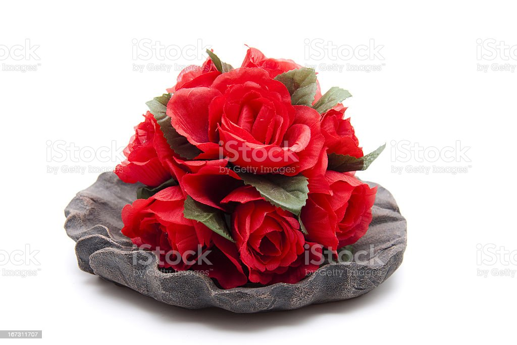 Red floral decoration in bowl royalty-free stock photo