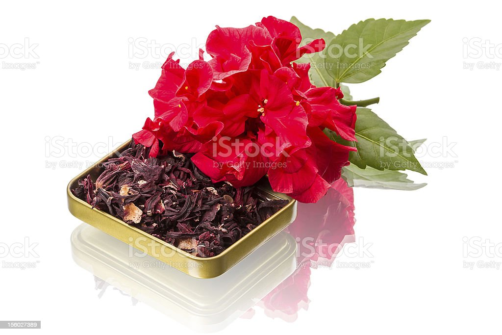 Red flower and hibiscus tea royalty-free stock photo