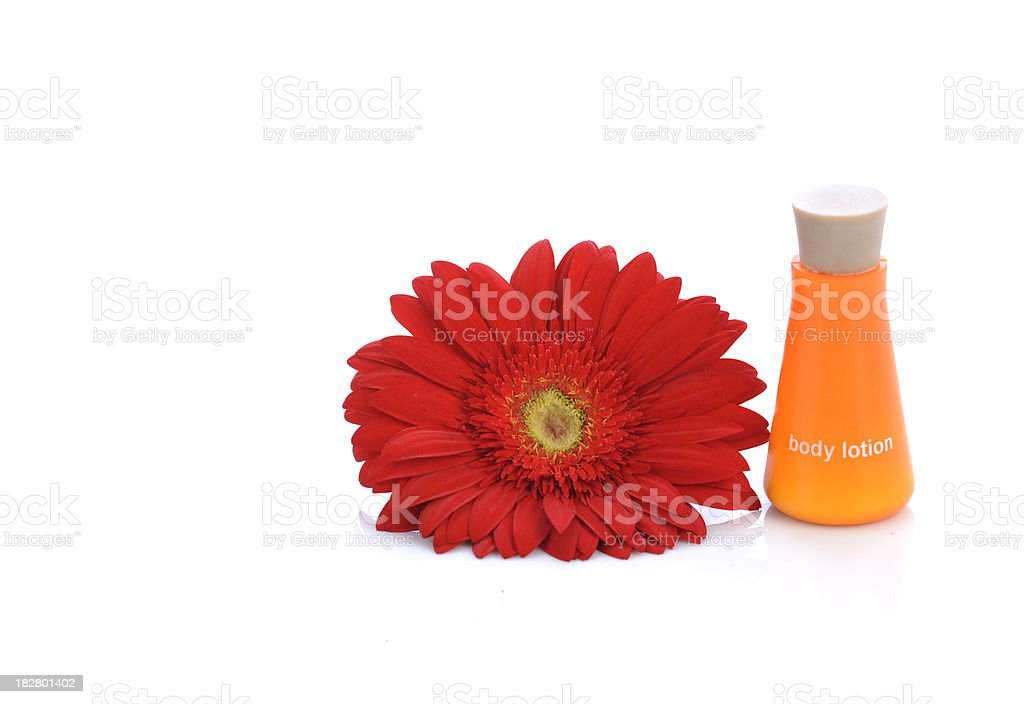 Red Flower and Orange Bottle royalty-free stock photo