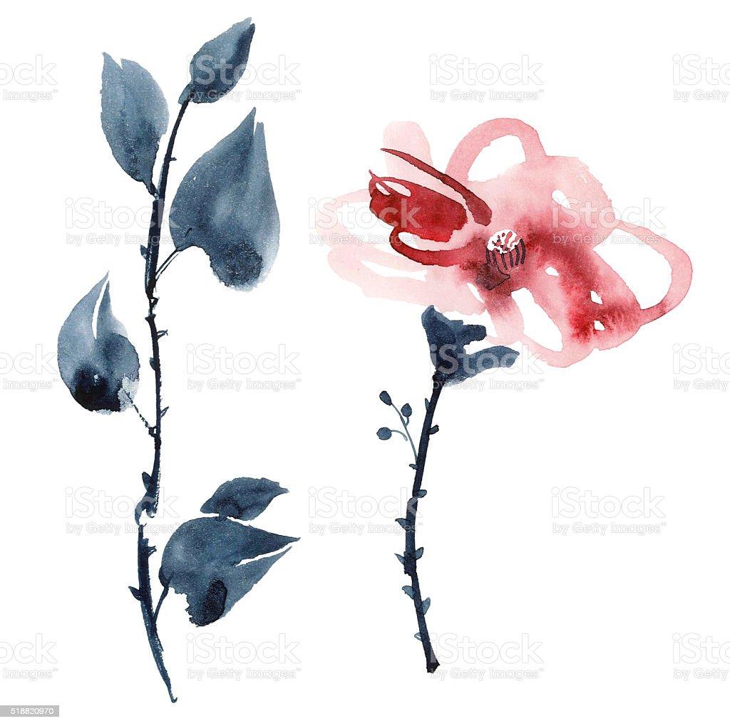 Red flower illustration stock photo