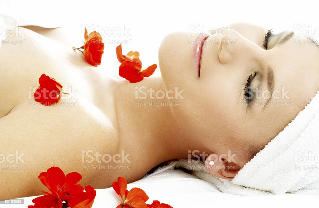 red flower petals spa #2 royalty-free stock photo