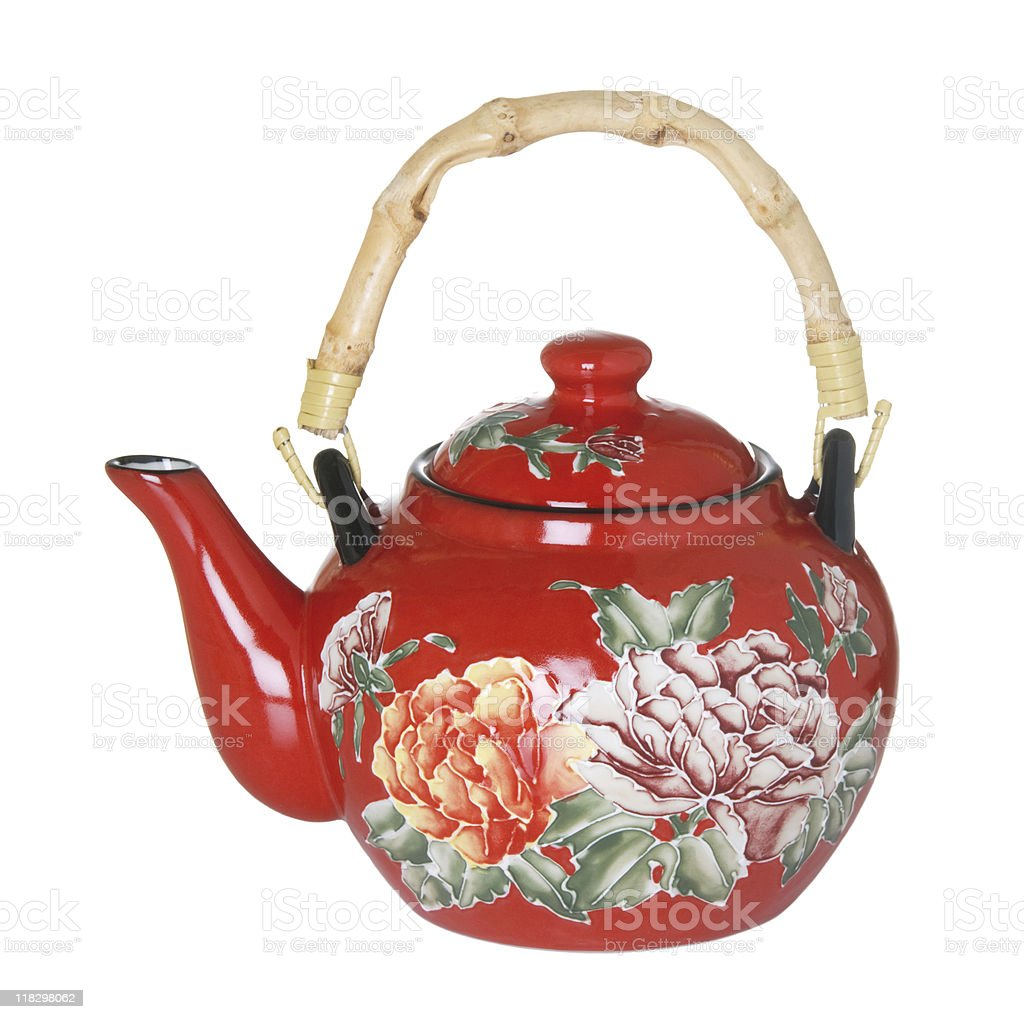 Red Flowered Teapot stock photo