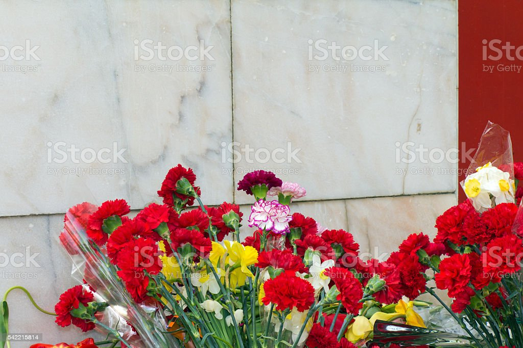Red flowers lie at the foot of the monument of stock photo