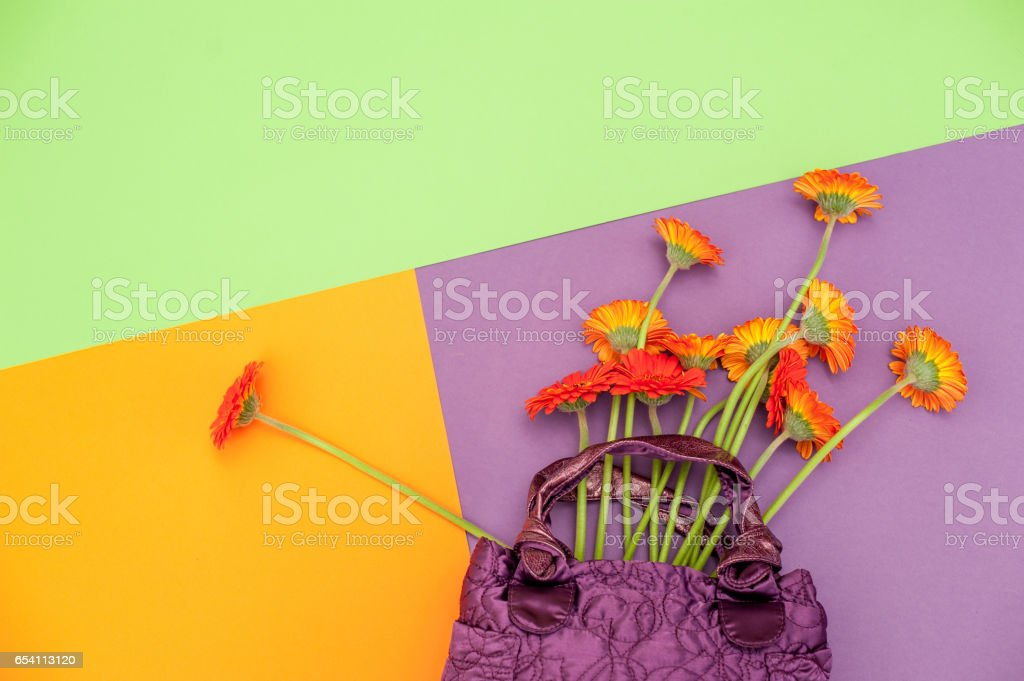 Red Flowers Put In Violet Handbag On Multicolored Background stock photo