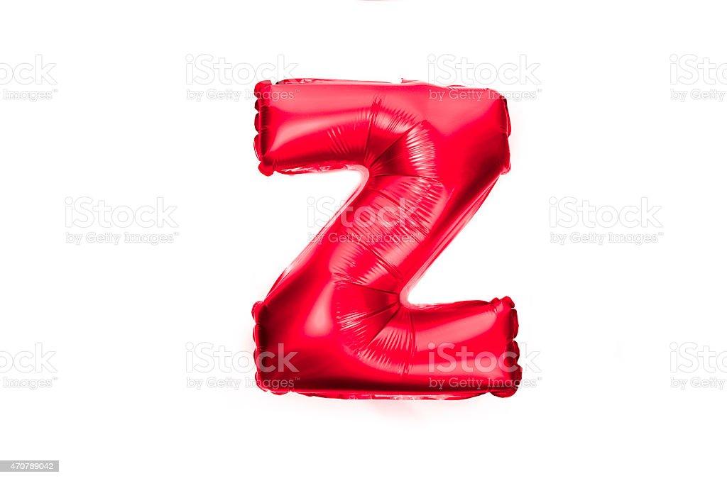 Red foil balloon alphabet letter z stock photo