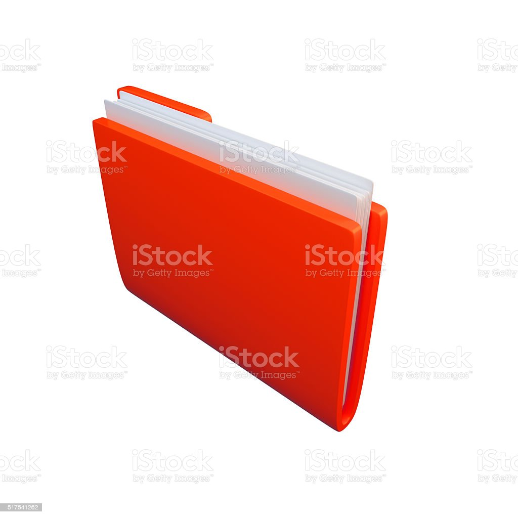 Red folder with clean sheets on white background. 3D illustration stock photo