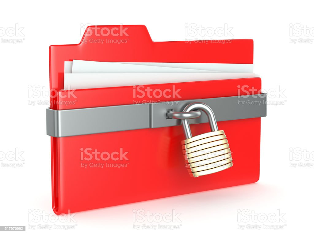 Red folder with lock stock photo