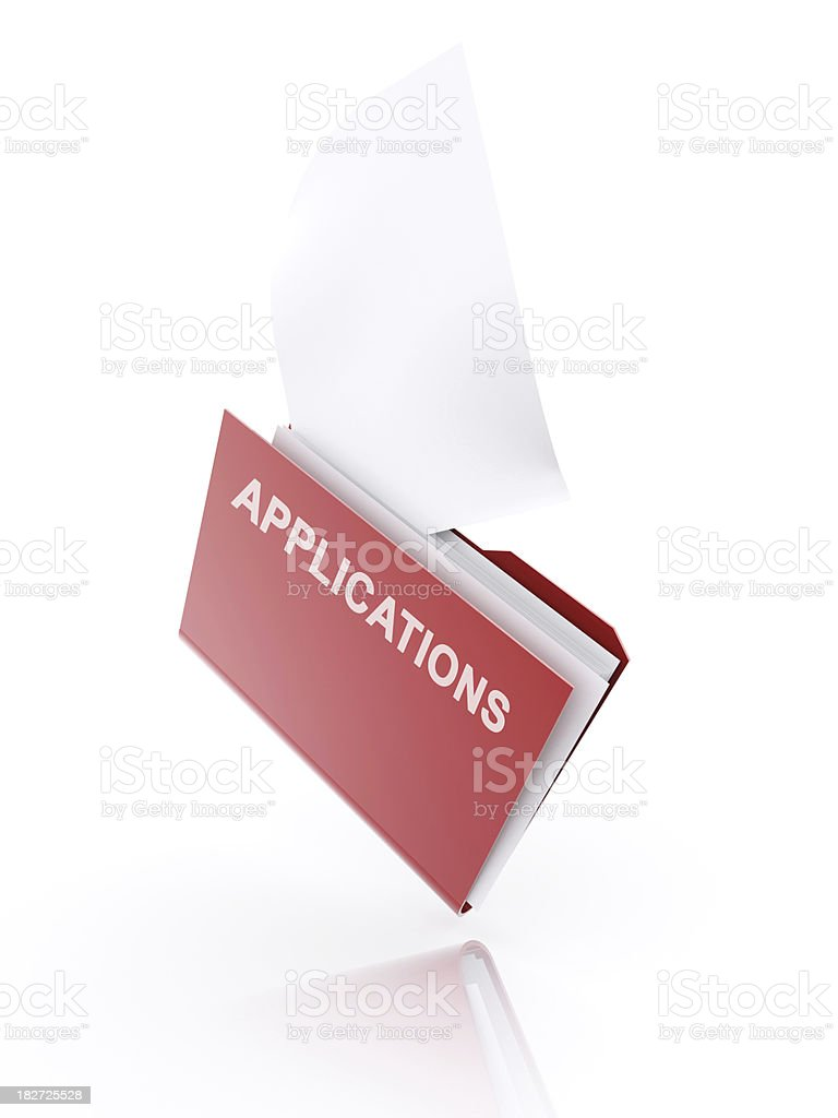 red folder with text applications and blank paper royalty-free stock photo