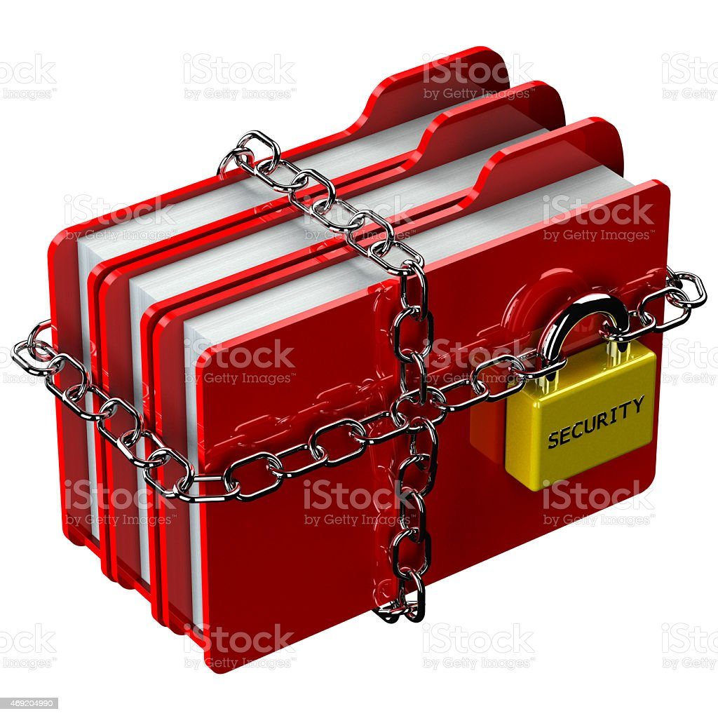Red folders with chain with padlock with word security stock photo