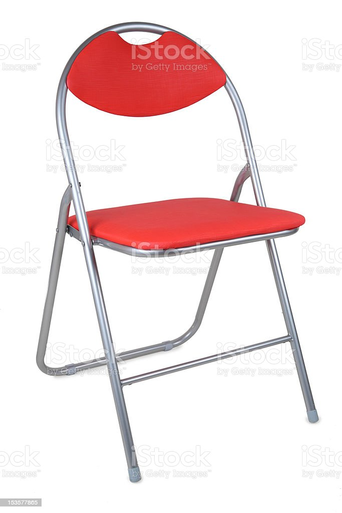 red folding chair isolated on white stock photo